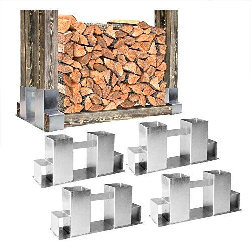 4x stapelhilfe kamin brennholz holz holzstapel feuerholz holzstapelhilfe feuerverzinkter stahl. Black Bedroom Furniture Sets. Home Design Ideas