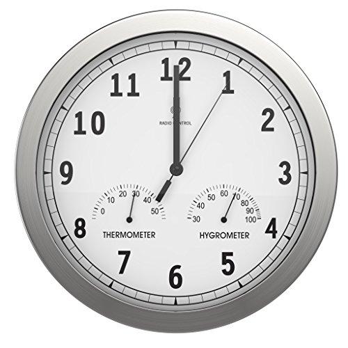 Attraktiv BonVIVO Timerider, Funkuhr Aus Aluminium, Große Wanduhr Für Wohnzimmer,  Küche Oder Büro, Höchste Genauigkeit Der Wanduhr Per Funk, Integriertes  Thermometer ...