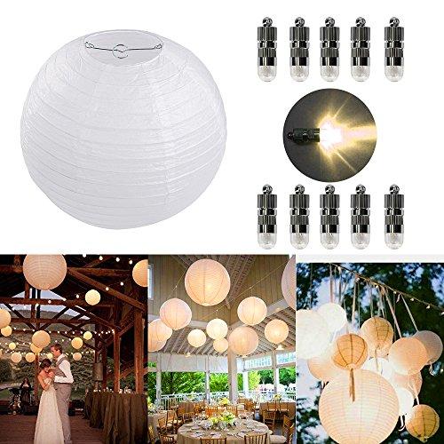 Dazone 10 Stücke Papierlaterne Weiß Lampion + 10er Warmweiße Mini  LED Ballons Lichter, Rund Lampenschirm Hochtzeit Party Dekoration  Papierlampen 8u203320cm