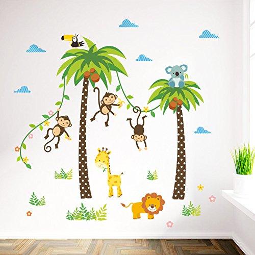 ElecMotive Dschungel Abnehmbare Wandsticker Kinderzimmer Babyzimmer ...
