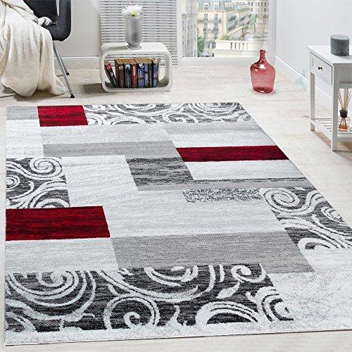 Paco Home Designer Teppich Wohnzimmer Inneneinrichtung Floral Muster  Meliert Hell Grau Rot, Grösse:160x220 Cm