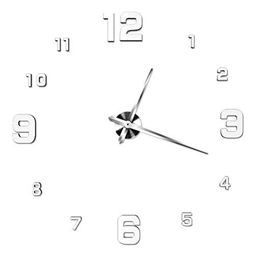 NUOLUX DIY 3D Wanduhr Dekoration Uhr Große Wanduhr 3D Spiegel Oberflächen  Große Uhr Zimmerdeko Weiß