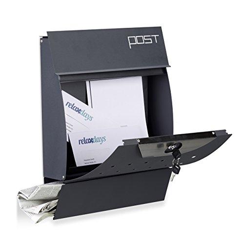 Relaxdays Design Briefkasten Mit Zeitungsfach Pulverbeschichtet