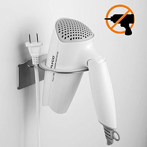 Ecooe Haartrocknerhalter Ohne Bohren Edelstahl Mit 3M Klebeband  Selbstklebender Fönhalter Mit Praktischem Kabelhalter