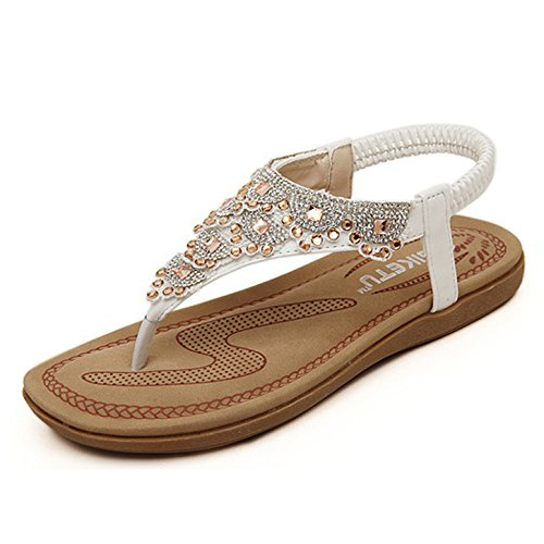 1eb3181dd1 Elecenty Sandalen Damen Sommerschuhe,Frauen Künstlicher Strass T-Strap Sommer  Schuhe Schuh Damenschuhe Flip Flops Shoes Sandaletten Frauen Flache Offene  ...