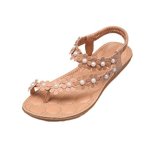 d31a73e6a9 Sandalen Damen Sommer Elegant Böhmen Blumen-Perlen Flip-Flop Schuhe Flache  Sandalen Schuhe Mode Strandschuhe Zehentrenner Pantoletten Riemchensandalen