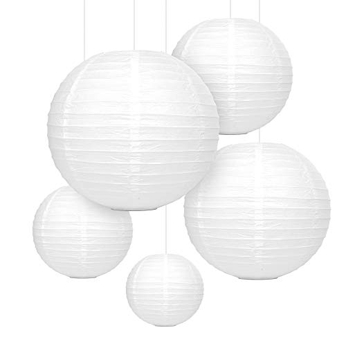 mozooson 12x laterne papier wei falt lampions gro und klein f r drau en und innen deko. Black Bedroom Furniture Sets. Home Design Ideas