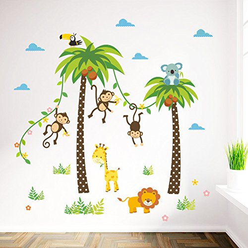 Das Tiere Zoo Kunst Eis Zug Wandaufkleber Affe, Giraffe, Elefant ...