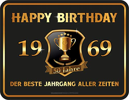rahmenlos deko blechschild zum 50 geburtstag happy birthday 50 1969 der beste jahrgang aller. Black Bedroom Furniture Sets. Home Design Ideas